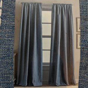 Perri home one rod pocket panel striped chambray